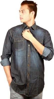 Etyhas Collections Men's Solid Casual Dark Blue Shirt