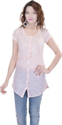 OVIYA Women,s Striped Casual Pink Shirt