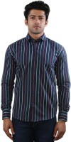 Just Differ Formal Shirts (Men's) - Just Differ Men's Striped Formal Dark Blue, White, Green, Red Shirt