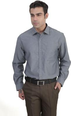 John Players Men's Solid Formal Grey Shirt