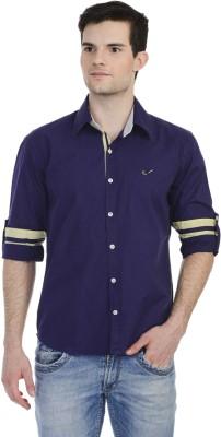 Hekar Men's Solid Casual Purple Shirt