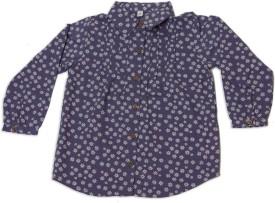 Nino Bambino Girls Printed Casual Blue Shirt