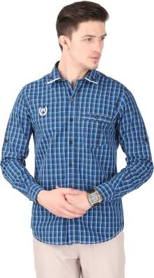 Cotton County Men's Checkered Casual Dark Blue Shirt