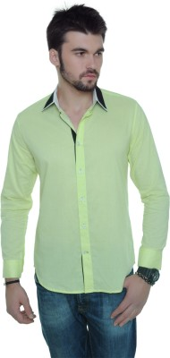 See Designs Men's Solid Casual Green Shirt