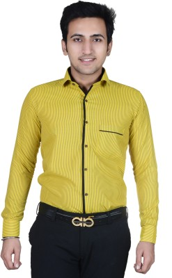 AAAyz Men's Striped Casual Yellow Shirt