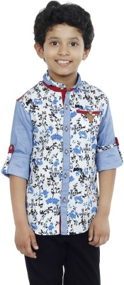 OKS Boys Boy's Printed Casual White Shirt