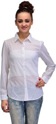 IRACC Women's Self Design Casual White Shirt
