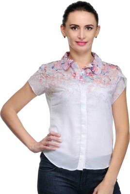 Hichkii Women's Floral Print Casual White Shirt
