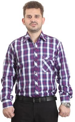 The Standard Men's Checkered Formal Purple Shirt