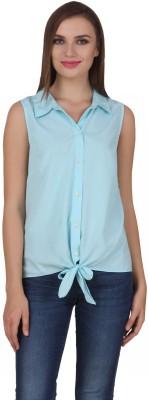 One Femme Women's Solid Casual Light Blue Shirt