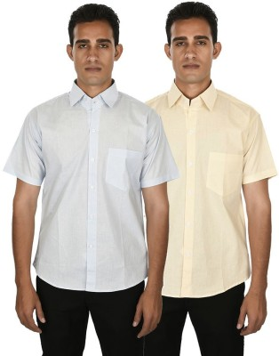Venga Men's Solid Casual Light Blue, Beige Shirt
