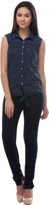 Petipack Women's Self Design Casual, Party Blue Shirt