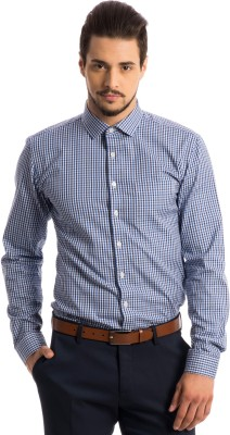Specimen Men,s Checkered Formal Blue Shirt