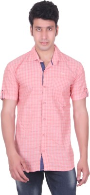 PICKLE Men's Solid, Checkered Formal Orange Shirt