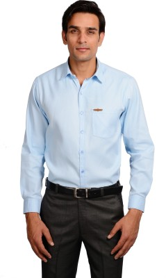 Riwas Collection Men's Solid Casual Blue, Blue Shirt