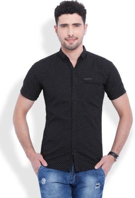 Vintage Men's Printed Casual Black Shirt
