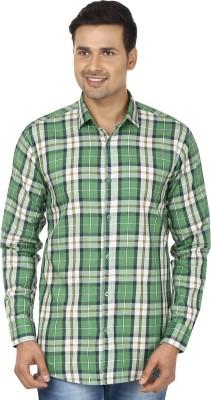 Edinwolf Men's Checkered Casual Green, White Shirt