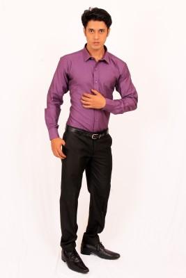 Green Bows Men's Solid Formal Purple Shirt