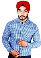 Flutter Formal Shirts (Men's) - Flutter Men's Checkered Formal Blue Shirt