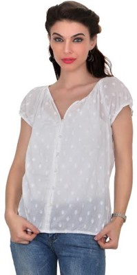 Ten on Ten Women's Self Design Casual White Shirt