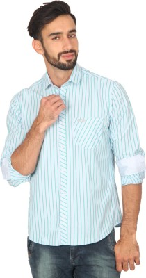 Ashford Brown Men's Striped Casual Light Blue Shirt