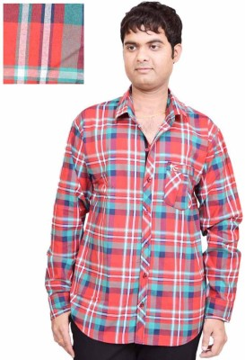 British Terminal Men's Checkered Casual Red Shirt