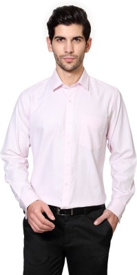 University of Oxford Men's Geometric Print Formal Pink Shirt