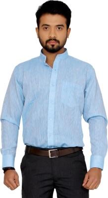 Indian Weller Men's Woven Casual Linen Blue Shirt