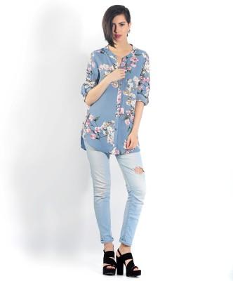 Chique Women's Floral Print, Woven Casual, Party Blue Shirt