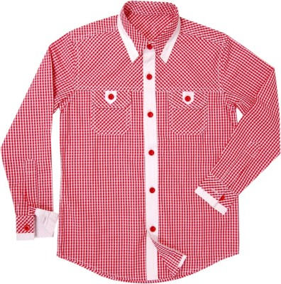 Swan Fashion Boy's Checkered Formal Reversible Red, White Shirt