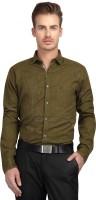 British Line Formal Shirts (Men's) - British Line Men's Self Design Formal Green Shirt