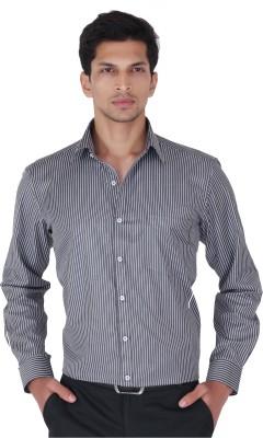 Cocablue Men's Striped Formal Black Shirt