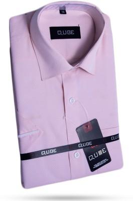Qube Men's Self Design Formal Pink Shirt