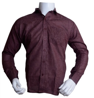 Qube Men's Solid Formal Maroon Shirt
