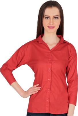 Kamakshi Krafts Women's Solid Formal Red Shirt