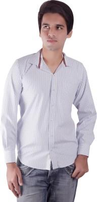 Elle Et Lui Men's Checkered Formal Blue, White Shirt