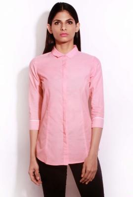 Change 360 Women's Solid Formal Pink Shirt