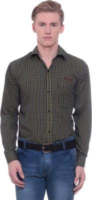 RPB Men's Checkered Formal Yellow, Black Shirt