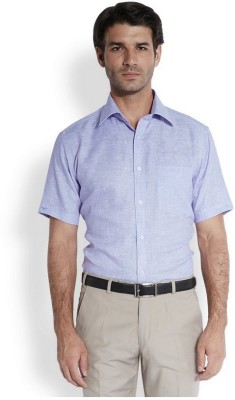 Park Avenue Men,s Solid Casual Linen Purple Shirt