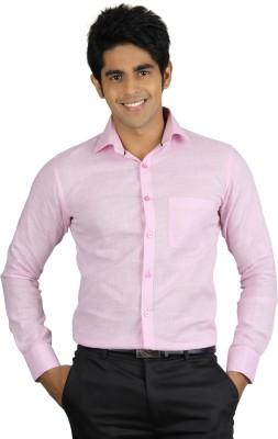 Qpark Men's Solid Formal Linen Pink Shirt
