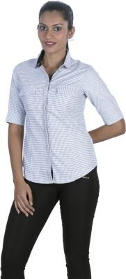 Elle Et Lui Women's Checkered Formal Black Shirt