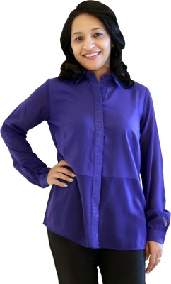 Kyma Women's Solid Casual Purple Shirt