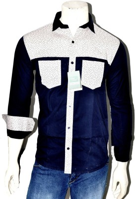 Indian Touch Men,s Printed Casual Dark Blue Shirt