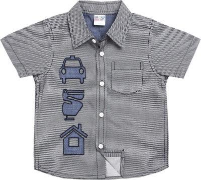 Wow Mom Baby Boy's Checkered Casual Dark Blue Shirt