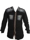Zedx Men's Solid Casual Black Shirt