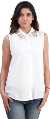 Bloomy Women's Solid Casual White Shirt