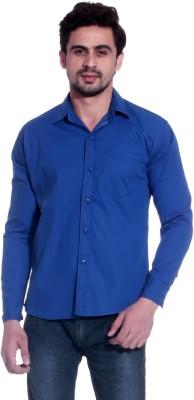 Calibro Men's Solid Casual Blue Shirt