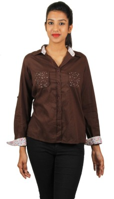 Old Khaki Women's Solid Casual Brown Shirt