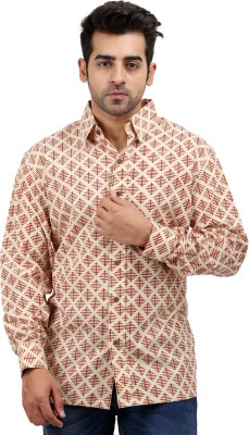 Padmini Negotium Men's Self Design Casual Beige Shirt
