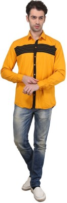 Custom Paid Men's Solid Casual Yellow Shirt